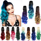 Lady Dip Dye Ombre Wavy Claw On Pony Ponytail Clip In Hair Extension Hairpiece