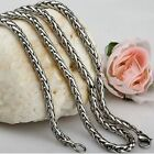 Titanium Steel Chain Rope Womens Tone Mens Silver Stainless Necklace Braided