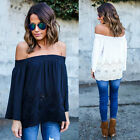 Fashion Women Off The Shoulder Casual Loose Long Sleeve T-Shirt Tops Blouse