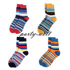 Men's Colorful Striped 2 Pairs Crew Cotton Ankle Socks Casual Stretchy One Size