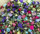 Ribbon Roses dainty green leaves -Pretty Mixed Colours Pack of 20/30/50/100
