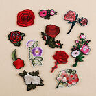 Embroidered Sew Iron on Patch Badge Rose Flower Motif Bag Dress Applique