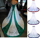 Plus6-30W Vintage Ball Wedding Dresses Embroidery Gothic Long Satin Bridal Gowns