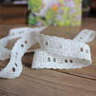 1/3/5 Yards Embroidered Cotton Lace Edge Trim Eyelet Sewing Clothes Craft DIY