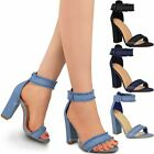 Womens Ladies Block Heels Ankle Strappy Sandals Peep Toe Party Denim Shoes Size