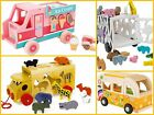 Wooden Van Toys Preschool Boys Girls Kids ABC Animals Zoo Minibus Hippie Van NEW