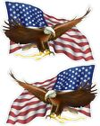2  EAGLE BIRD / USA FLAG 1 right 1 left color vinyl bumper decals stickers (816)