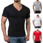 Young Rich 1873 Herren T-Shirt Deep V-Neck Body Fit Muskel Shirt Fitness Gym