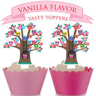 Owls in a tree Party EDIBLE wafer Cupcake Cake Toppers Standup PRECUT Cup Cake