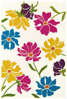 Modern Contemporary Rug Acrylic Floral Flowers Bold Funky Colourful Bright