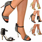 WOMENS DIAMANTE DETAIL HIGH HEEL STRAPPY PEEP TOE EVENING PARTY SANDALS SHOES