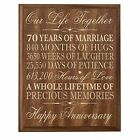 70th Wedding Anniversary Couples Wall Plaque Custom Engraved