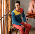 Leisure Fall Red/ Yellow Cotton 2PCs Men's Home Wear Long Sleeves L/XL/2XL/3XL