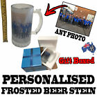 PERSONALISED FROSTED GLASS BEER STEIN GIFT BOXED birthday present ANY PHOTO