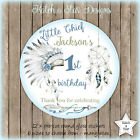 LITTLE CHIEF BOHO TRIBAL BIRTHDAY PARTY PERSONALISED ROUND GLOSS STICKERS X12