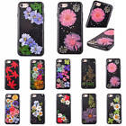 Colorful Real Flower Cool Black Background Soft TPU Rubber Case Cover For iPhone