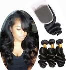 3pcs Bundles Brazilian Loose Human Hair Wave 7A Unprocessed Virgin Hair+ Closure