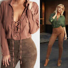 Womens Cotton Casual T-Shirt Long Sleeve V Neck Loose Lace Up Blouse Tops Shirts