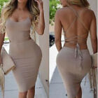 Women Backless Patchwork Bodycon Bandage Evening Party Clubwear Short Mini Dress