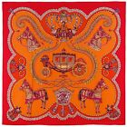 NEW Authentic Hermes Shawl PAPEROLES Cashmere Silk 140 Orange Red