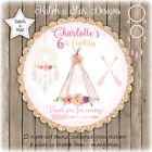 TRIBAL BOHO RUSTIC TEEPEE PARTY PERSONALISED SCALLOP CIRCLE GLOSS STICKERS X 12