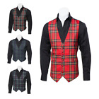 New Scottish Premium Mens Tartan Polyviscose Waistcoat - Select Size and Tartan