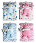 Newborn Baby Supersoft Comfort Blanket With Toy Babies Cuddly Teddy Bear Rabbit