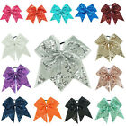 7 inch Baby Girls Sequins Ribbon Cheer Bows Elastic Bands Ponytail Cheerleaders