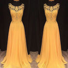 Long Gold Lace Wedding Formal Evening Cocktails Party Bridesmaid Prom Gown Dress