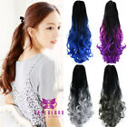 "Lady Claw On Ponytail 20"" Hair Extension Ombre Hair Piece curly Dip Dye Party"