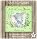 ELEPHANT NEUTRAL BABY SHOWER PARTY PERSONALISED SQUARE GLOSS PARTY STICKERS X 12