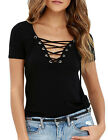 US Fashion Women's Lace Up V-Neck Loose Pullover T Shirt Cotton Top Shirt Blouse