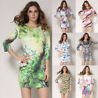 Women 3/4 Sleeve Party Casual Cocktail Summer Beach Short Mini Dress Sundress