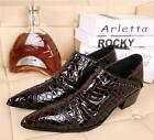 Mens Pointy Toe Crocodile Pattern Metal Decor PU Leather Shoes Plus Size Slip On