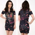 Womens Ladies Acid Wash Cold Shoulder Lace Up Angel Rose Print Top T Shirt Dress