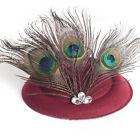 Hot party pillbox hats crystal feather fascinator women fancy dress hair clips