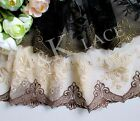 20 cm width Beige&Coffee / Black&Olive Brown Embroidery mesh Lace Trim