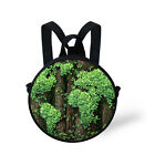 Green Plant Kid Small Backpack Two Way Bag Women Shoulder Bag Round Purse Bag