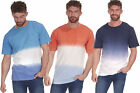 Mens T Shirt 2 Way Dip Dyed Color Slub Cotton Short Sleeve Summer Tee Top S-XXL