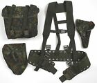 GERMAN ARMY WEBBING KIT BACKPACK HARNESS BELT POUCH & HOLSTER IN FLECKTARN CAMO