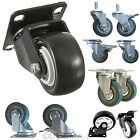 4 x Heavy Duty Rubber PU Swivel Castor Wheels Trolley Furniture Caster Brake