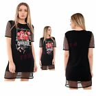 NEW WOMENS LADIES SHORT SLEEVE MESH TRIM PARADISE FLORAL PRINT BAGGY T SHIRT TOP