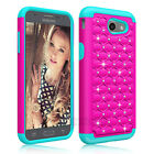 Hybrid Bling Rubber Phone Case Cover For Samsung Galaxy J3 Luna Pro/Emerge/Prime