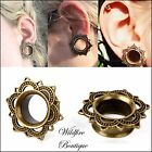 Antique Brass Tribal Flower Sun Design Flared Ear Tunnels Plugs Stretchers 8-18