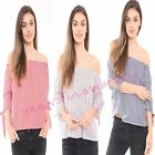 New Womens Ladies Off Shoulder Pinstripe 3/4 Sleeve Swing Top Blouse Bardot 8/14