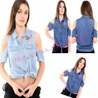 New Womens Ladies cut Shoulder Floral Embroidery Denim Tie Knot T Shirt top 8/14