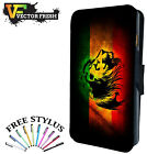 Rasta Lion Jamaica Flag Fearless - LEATHER FLIP PHONE CASE COVER iPHONE SAMSUNG