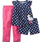 New Carters Girl's 3pc Pajama Sleepwear Set Polka Dot Seagull Sizes 12M & 4T
