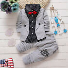 Toddler Baby Boys Kids Tie T-Shirt Coat Outwear Pants Clothes Set Outfits Suit