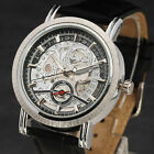 Unique Skeleton Automatic Watch Men Date Window Mechanical Watches Small Seconds
